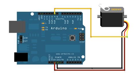 Basic Arduino/servo circuit.