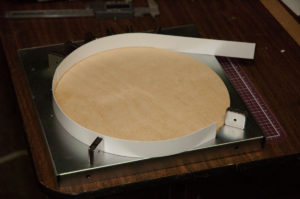 Building the Turntable Pit with Styrene Strips glued to a plywood base.