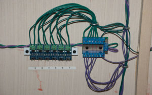 Track power distribution block with ACS712 current sensors.
