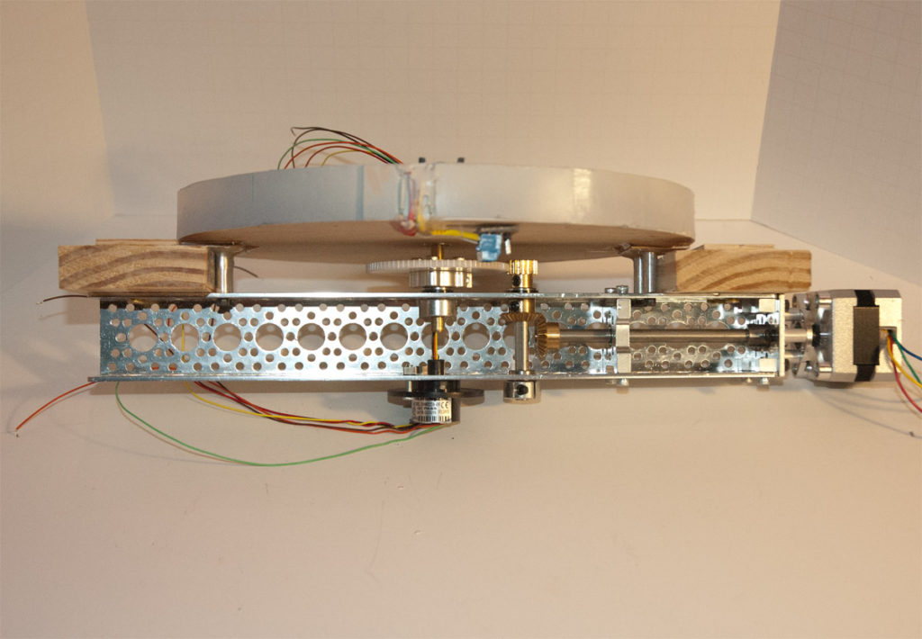 The completed turntable mechanism, with mounting blocks attached.